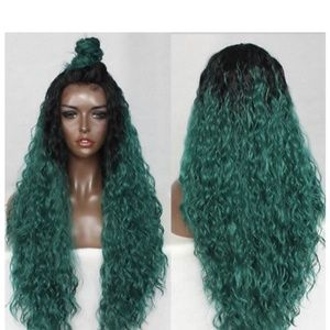 Black Green Lace Front Wig